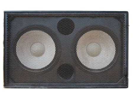 speaker box: Powerful stage concerto audio speakers isolated on white background Stock Photo