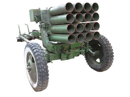 launcher: Old russian mobile rocket launcher isolated over white background