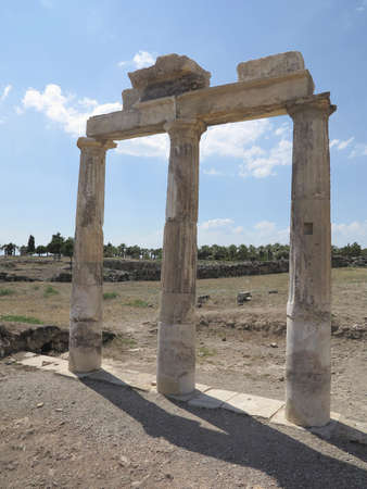 hierapolis: Columns and ruins of ancient Artemis temple in Hierapolis, Turkey Stock Photo