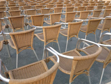 open air: Abstract row of chair seats in open air theater Stock Photo