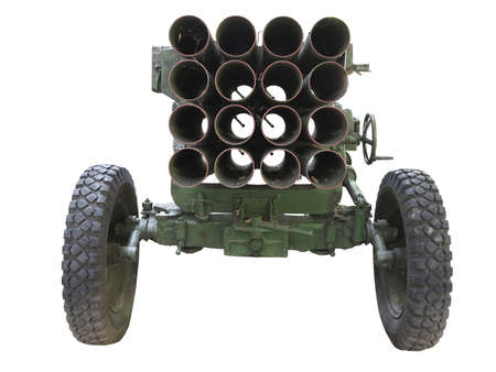 Old russian mobile rocket launcher isolated over white background photo