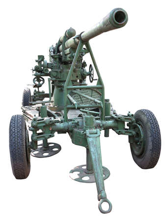 Russian old green anti-aircraft gun isolated over white background photo