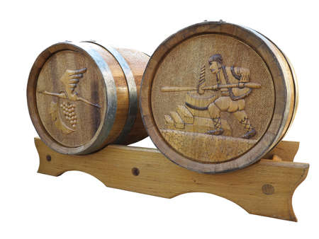 barel: Two wooden barrel with bass relief. Isolated on white background.