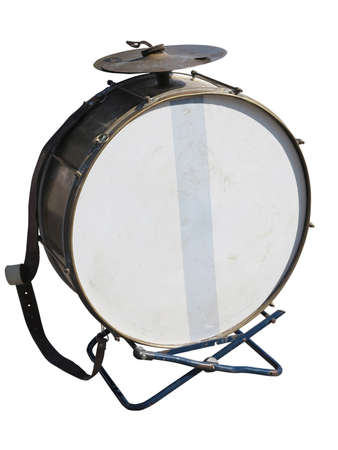 bass drum: Vintage old bass drum  isolated over white background Stock Photo