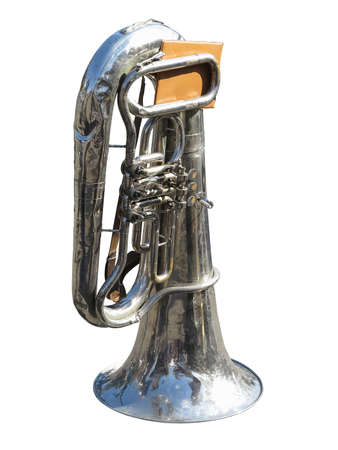tuba: vintage old tuba with notes  isolated over white background