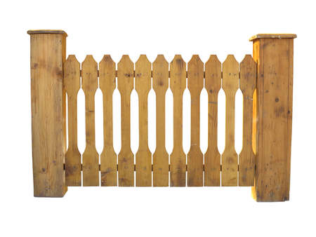 slats: Wooden fence at ranch isolated over white background