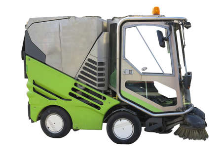 clean street: Green street sweeper machine isolated over white background Stock Photo