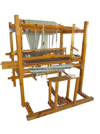 hand woven: Vintage ancient wooden loom isolated over white background
