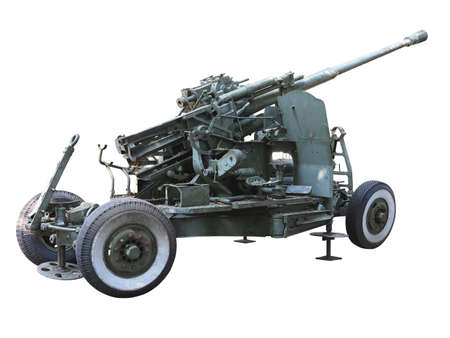 Russian old green anti-aircraft gun isolated over white background