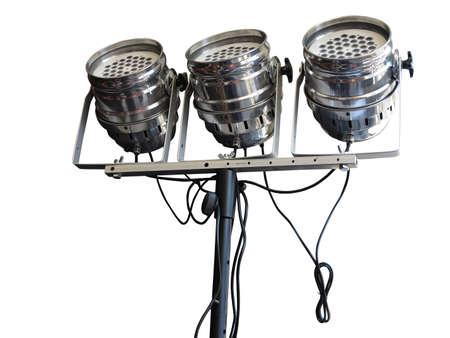 lighting background: Studio spotlight lighting equipment isolated on white background