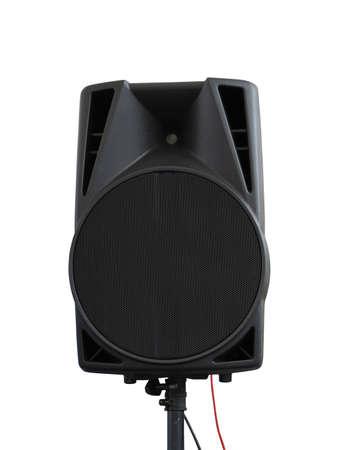 Large powerful Audio Speakers on tripod Isolated on White Background photo