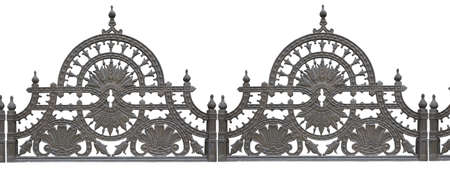 cast iron: Old forged metallic decorative lattice fence isolated over white background