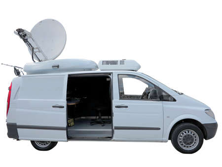 newsman: White tv newsman van with satellite dish antenna isolated over white background Stock Photo