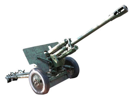 cannon gun: Old russian artillery cannon gun isolated over white background