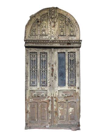 puertas de hierro: Antigua puerta de madera marrón de la vendimia con el patrón de la decoración aislada Foto de archivo