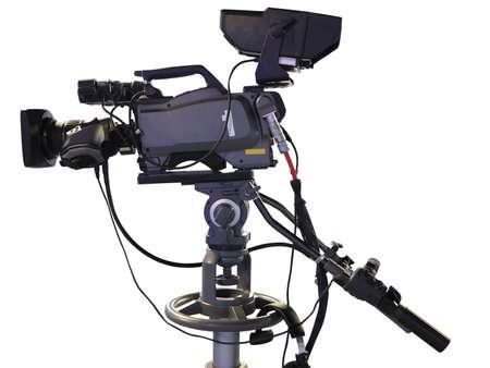 Professional de TV digital video cámara de estudio aislado sobre fondo blanco