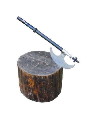 crusade: Medieval battle axe weapon on wooden stump isolated over white background Stock Photo