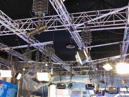 studio lighting: structures of tv studio illumination lights equipment and projectors