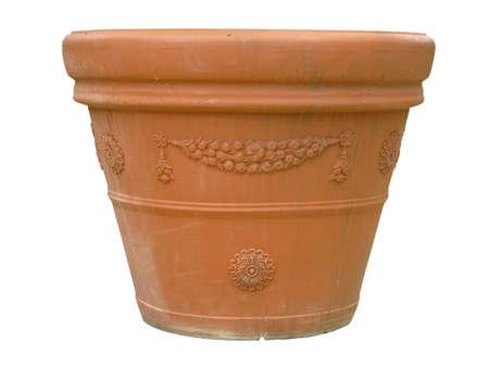 ornated: Ornated clay pot vase isolated over white background