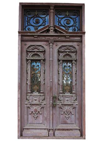 puertas antiguas: Antigua puerta de madera marrón de la vendimia con el patrón de la decoración