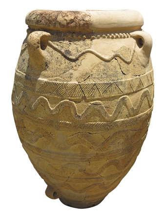 classical greece: Ancient clay Minoan amphora in Malia, Crete, Greece Stock Photo