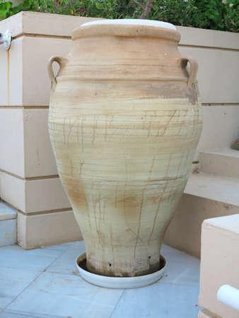minoan: Ancient clay Minoan amphora in Malia, Crete, Greece Stock Photo