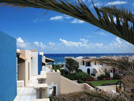 minoan: Luxury view of greek village on Crete in tropical minoan style architecture Stock Photo