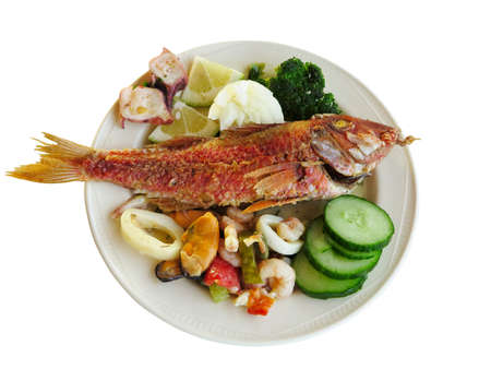 langoustine: Cooked fish and seafood- mussel squid cucumber on dish