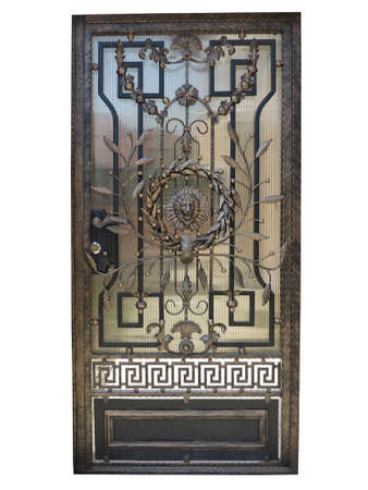 Forged bronze decorative door gate isolated over white background.