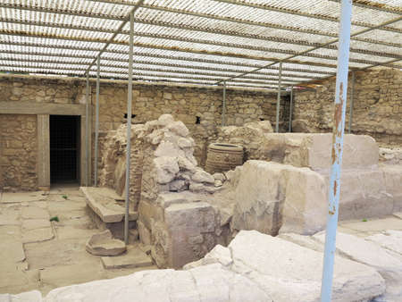 archaeologist: Archaeologist excavating on ancient ruins of Knossos palace, Crete, Greece