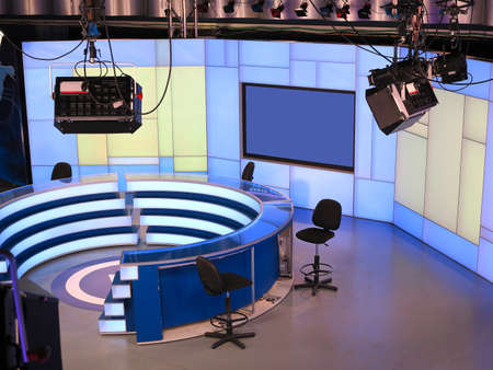 05.04.2015. Moldova. PUBLIKA TV NEWS studio with light equipment ready for recordind release