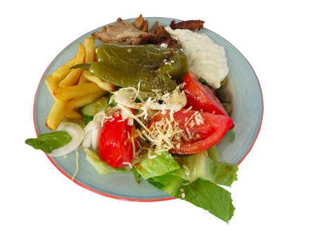 comida rapida: Greek fast food - fish, broccoli, mushrooms on a plate