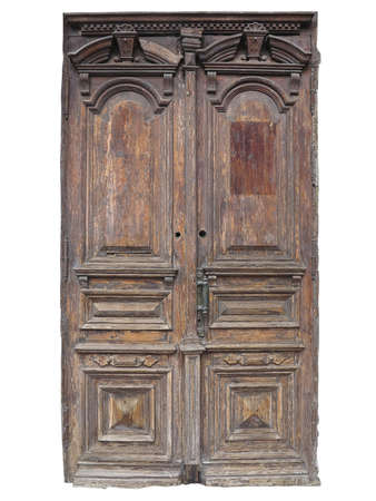 white door: Vintage old brown wood door with patterns isolated over white background