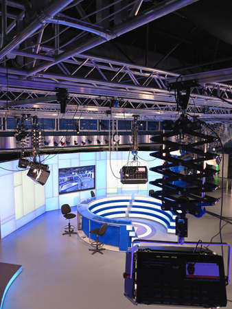 video wall: 05.04.2015, Moldova, PUBLIKA TV NEWS studio with light equipment ready for recordind release Editorial