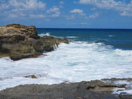 atlantic ocean: Big waves on rock coast blue sea and sky on Crete, Greece