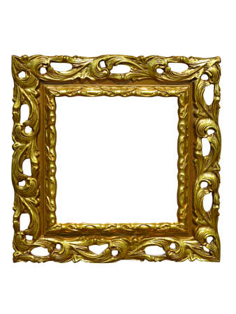 carvings: Old vintage golden picture frame isolated on white background Stock Photo