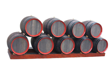 ferment: Old wooden barrels with red circles isolated over white background Stock Photo