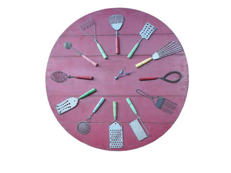 rec: Concept of rec kitchen wall clock isolated over white background