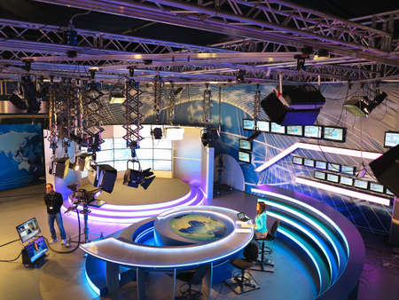 screen tv: 05.04.2015, MOLDOVA, Publika TV NEWS studio with light equipment ready for recordind release.