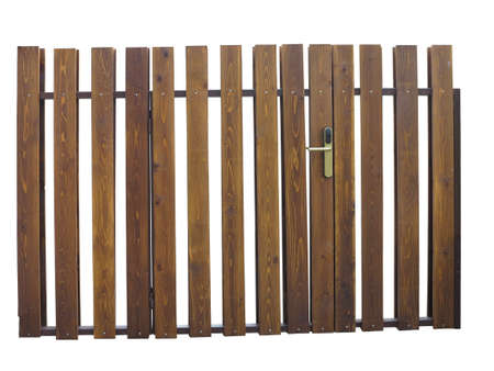 wooden fence: Old brown wooden gate with lock isolated over white background