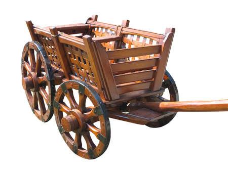 carreta madera: Vintage carro de madera wagon aislados sobre fondo blanco