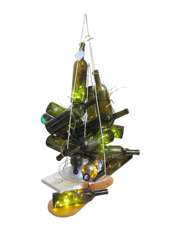 bottle: Abstract creative Christmas tree made of bottles isolated over white background.