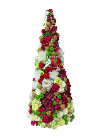 pine apple: Abstract creative Christmas floral and apple tree isolated over white background.