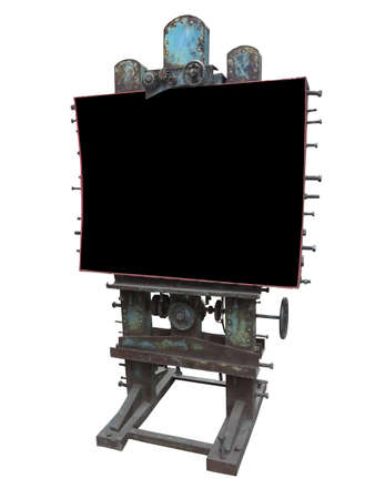 advertising space: Stylish industrial style advertising panel with rusty gear and bolt and black blank space, isolated