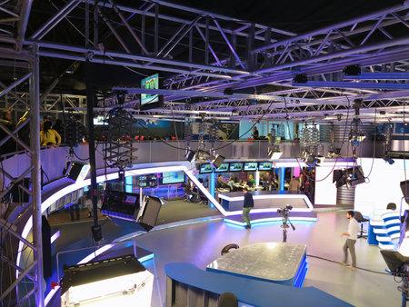 "05.04.2015, MOLDOVA, ""Publika TV"" NEWS studio with light equipment ready for recordind release."