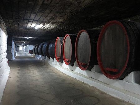 03.10.2015, CRICOVA, MOLDOVA Old traditional wine cellar underground with big wooden barrels
