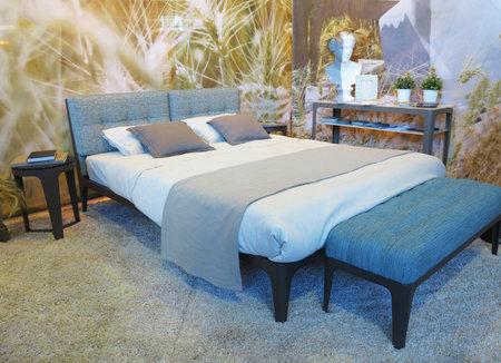 vegetal: 10.10.2015, MOLDOVA, Real estate exhibition, stylish bedroom interior design with pattern vegetal decorations on wall