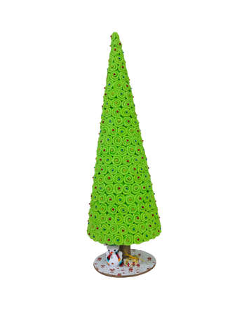 bright christmas tree: Abstract creative green Christmas tree isolated over white background. Stock Photo