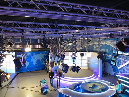 """20150504, Moldavië, """"Publika TV"""" NEWS studio met licht materieel klaar voor recordind release."""