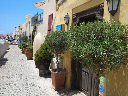 romantic sky: 18.06.2015, Santorini, Greece, Romantic beautiful street and blue sky.